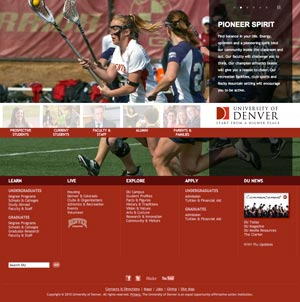 University of Denver's homepage.